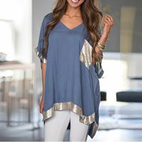 Cotton Asymmetrical Women Short Sleeve T-Shirts short front long back   loose patchwork