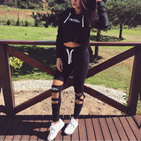 Cotton Women Sportswear Set hollow with Cotton sweatshirts   Pants printed letter black Sold By Set