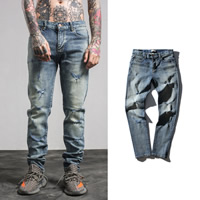 Denim Middle Waist Men Jeans without belt frayed Solid light blue Sold By PC