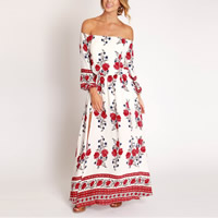 Chiffon & Polyester One-piece Dress side slit off shoulder & ankle-length printed floral white Sold By PC