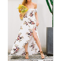 Chiffon front slit & Asymmetrical One-piece Dress printed floral white Sold By PC