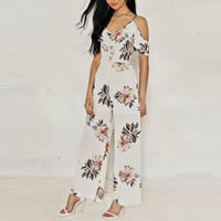 Chiffon Long Jumpsuit backless off shoulder & loose printed floral white Sold By PC