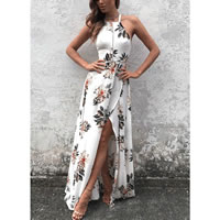 Chiffon Halter Dress side slit & backless hollow & ankle-length printed floral white Sold By PC