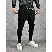 Polyester   Cotton without belt   Middle Waist Men Sports Pants plain dyed patchwork black Sold By PC