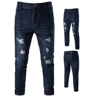 Denim Middle Waist Men Jeans frayed patchwork deep blue Sold By PC