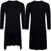 Polyester   Cotton Men Long Sleeve T-shirt loose plain dyed patchwork black Sold By PC