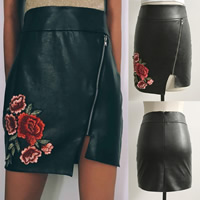 PU Leather Asymmetrical Skirt skinny style embroidered floral black Sold By PC