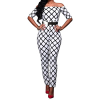 Cotton Long Jumpsuit without belt & backless off shoulder & overalls printed geometric Sold By PC