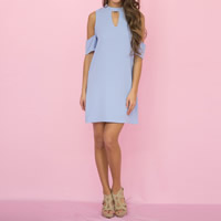 Polyester One-piece Dress off shoulder   hollow plain dyed Solid Sold By PC