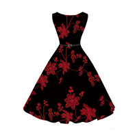 Cotton One-piece Dress with belt printed floral black Sold By PC
