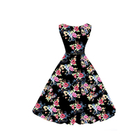Cotton Princess One-piece Dress with belt printed floral black Sold By PC