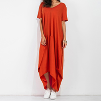 Cotton Asymmetrical One-piece Dress loose knitted Solid reddish orange Sold By PC