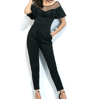 Polyester High Waist Long Jumpsuit off shoulder & transparent with Gauze patchwork Sold By PC