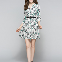 Chiffon without belt   A-line One-piece Dress printed floral Sold By PC