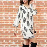 Cotton One-piece Dress printed leaf pattern white Sold By PC
