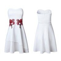 Polyester Princess One-piece Dress backless tube embroidered floral white Sold By PC