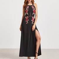 Polyester One-piece Dress side slit   backless hollow embroidered floral black Sold By PC