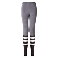 Polyester   Cotton Women Yoga Pants printed striped grey