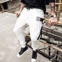 Cotton Middle Waist Men Casual Pants loose plain dyed patchwork