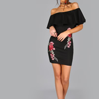 Knitted Sexy Package Hip Dresses backless off shoulder embroidered floral Sold By PC