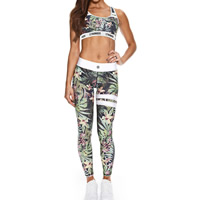 Spandex & Polyester Women Yoga Clothes Set backless tank top & Pants printed leaf pattern Sold By Set
