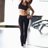 Spandex   Polyester Women Yoga Clothes Set backless hollow tank top   Pants patchwork black Sold By PC