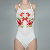 Spandex   Polyester One-piece Swimsuit transparent with Gauze embroidered floral Sold By PC
