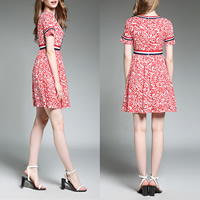 Polyester & Cotton A-line One-piece Dress printed leaf pattern red Sold By PC