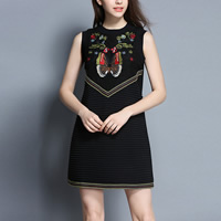 Polyester A-line One-piece Dress embroidered butterfly pattern black Sold By PC