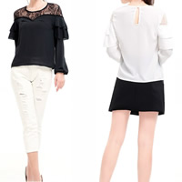 Chiffon Women Long Sleeve T-shirt hollow with Lace patchwork Sold By PC