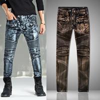 Denim Middle Waist Men Pencil Pants washed patchwork Sold By PC