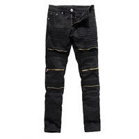 Cotton without belt   Middle Waist Men Pencil Pants skinny frayed patchwork Sold By PC