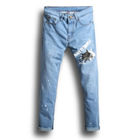 Cotton Middle Waist Men Jeans skinny printed letter light blue Sold By PC