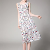 Cotton A-line Beach Dress mid-calf printed shivering white Sold By PC