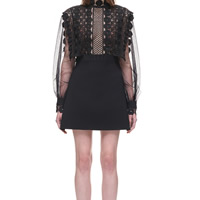 Lace & Polyester Sexy One-piece Dress hollow & transparent embroidered floral black Sold By PC