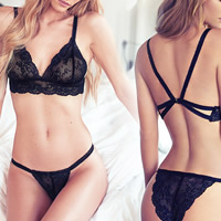 Acrylic & Lace Sexy Bra Set hollow with Spandex embroidered Solid black Sold By Set