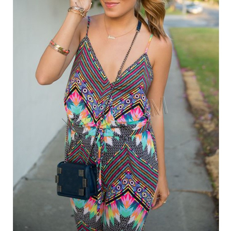 Chemical Fiber & Polyester Middle Waist Long Jumpsuit backless with belt & off shoulder & loose printed geometric Sold By PC