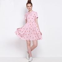 Polyester A-line & High Waist One-piece Dress printed fruit pattern pink Sold By PC
