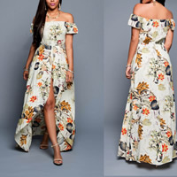 Cotton front slit & Asymmetrical Beach Dress backless off shoulder & tube printed floral Sold By PC