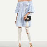 Cotton front slit Women Short Sleeve Shirt side slit   backless off shoulder   loose printed striped light blue Sold By PC