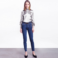 Polyester Women Long Sleeve Blouses ruffles Solid silver Sold By PC