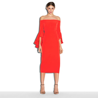 Cotton Step Skirt Sexy Package Hip Dresses side slit   backless off shoulder   mid-calf plain dyed Solid red Sold By PC