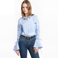 Cotton Women Long Sleeve Shirt printed striped blue Sold By PC
