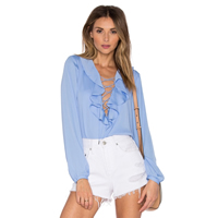 Polyester Lace Up Women Long Sleeve Blouses plain dyed Solid blue Sold By PC
