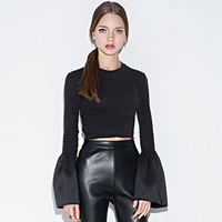 Polyester Crop Top Women Long Sleeve T-shirt plain dyed Solid black Sold By PC