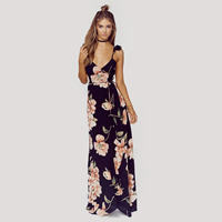 Polyester A-line   High Waist One-piece Dress side slit   backless with belt   floor-length printed floral black Sold By PC