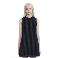 Polyethylene fiber-Ethylene   Polyester A-line One-piece Dress loose printed striped black Sold By PC