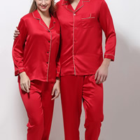 Polyester Couple Summer Pajama Set imitation silk   different styles for choice   breathable patchwork Solid red Sold By Set