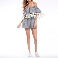 Polyester Miracle Tassel Women Romper backless off shoulder patchwork plaid white and black Sold By PC