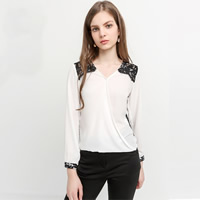 Lace & Polyester Women Nine Point T-shirt loose & hollow patchwork white Sold By PC